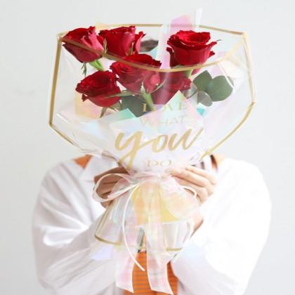SHIOK Waterproof Frame Transparent Bouquet Bag (Love What You Do) For Flower Florist Bouquet Gift Anniversary PB0992