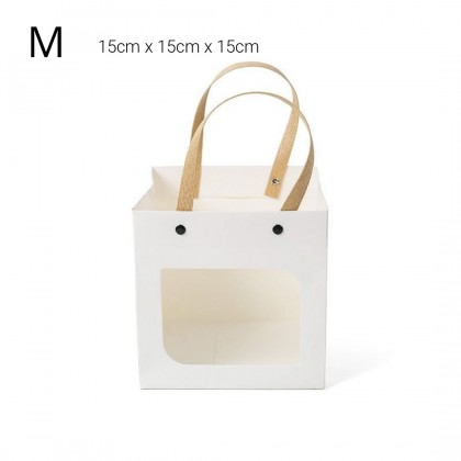 SHIOK Wowzers Square Buckle Gift Paper Bag With Transparent Window For Flower Bouquet Birthday Goodies Doorgift Beg Hadiah PB1008