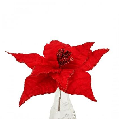 SHIOK Velvet Red Glitter Poinsettia Stem Artificial Flower For Flower Bouquet Christmas Ornament Bunga XA0042 / XA0043