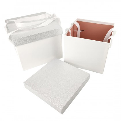 SHIOK 2 In 1 Square Shaped Gift Box With Glitter Cover And Side Handle For Flower Arrangement Decor Gift Hadiah BX1778