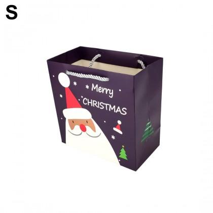 SHIOK Dark Purple Merry Christmas Square Paper Bag For Flower Bouquet Celebration Xmas Gift Doorgift Beg Hadiah XA0029