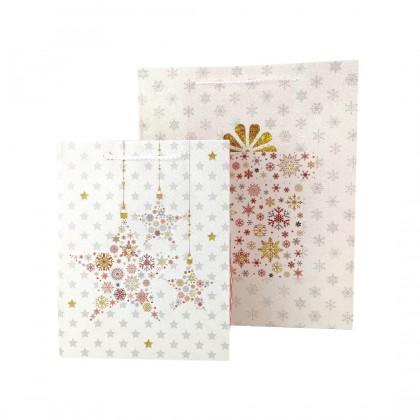 SHIOK S/M Rectangular Glitter Paper Bag With Christmas Present / Star Design For Flower Bouquet Xmas Beg Hadiah PB0849