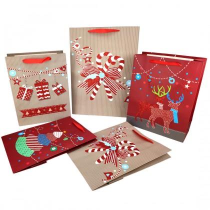 SHIOK M/L Rectangular Glitter Paper Bag With Christmas Candy Deer Present Tree Design For Flower Bouquet Xmas Beg XA0014
