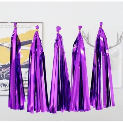 SHIOK 5pcs DIY Foil Paper Tassle Garland For Decoration Celebration Party Birthday Wedding Event PT1097