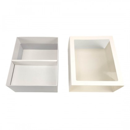 SHIOK Rectangular Shape Gift Box With 2 Compartments And Transparent Window Cover For Flower Arrangement/Gift BX1699