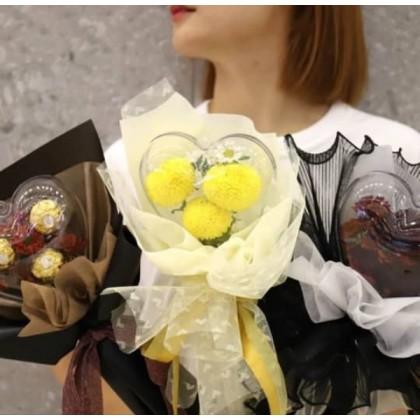 SHIOK Acrylic Bobo Round Shape Heart Shape Rabbit Ears Flower Headband Bouquet Flower Packaging Floral Material AC0072/73/74/75/76/84/87
