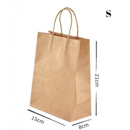 SHIOK Kraft Reusable Paper Bag with Handles for Doorgift Packaging Food Takeaway PB0919