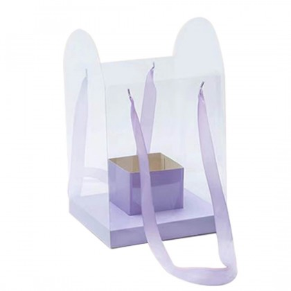 SHIOK Portable PVC Square Shaped Flower Box With Cardboard Base And Holder For Flower Arrangement/Decoration/Gift BX1749