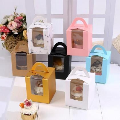 SHIOK Portable Rectangular Shaped Cupcake Box with Transparent Window For Cake/Pastry/Gift Kotak Kek Pastry BX1702