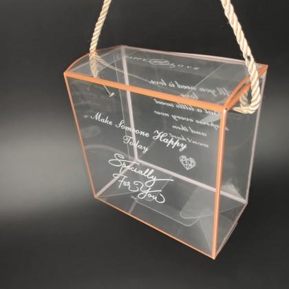 SHIOK Portable Square Shaped Transparent Gift Box (Espsecially For You) For Flower Arrangement/Decor/Gift/Pastry Kotak Pastri 透明雪花酥包装盒牛轧糖饼干烘焙奶枣礼品盒子糖果曲奇手提袋礼盒 BX1755