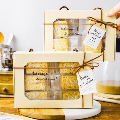 SHIOK Flip Open Rectangular Shaped Pastry Box Packaging With Transparent Window For Cake/Pastry/Decoration/Gift 手提透明雪花酥包装盒牛轧糖饼干烘焙奶枣礼品盒子糖果曲奇磅蛋糕手提透明礼盒 BX1754