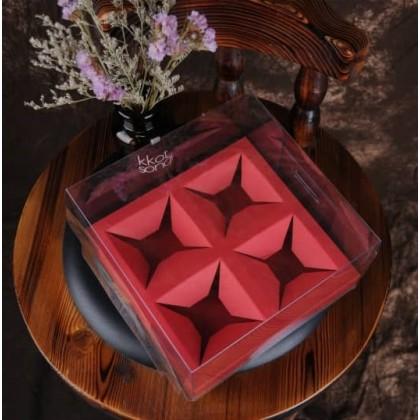 SHIOK Transparent PVC Mooncake Maccarone Box for Bakery Cake Birthday Gift Kek Bulan BX17674/17676
